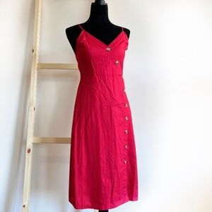 Express Dresses - Express Red Side Button Midi Sun Dress Cotton